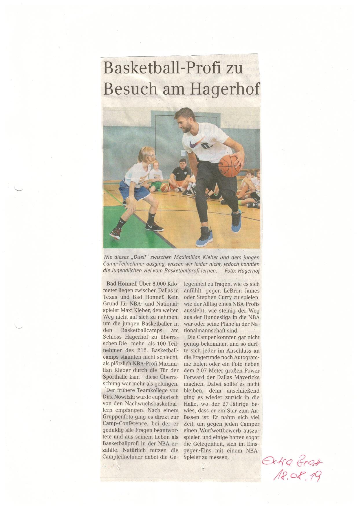 Basketball-Profi zu Besuch am Hagerhof